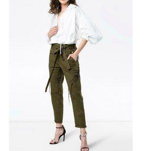 NWT Saint Laurent Lace-up Tie-Waist Military Pants